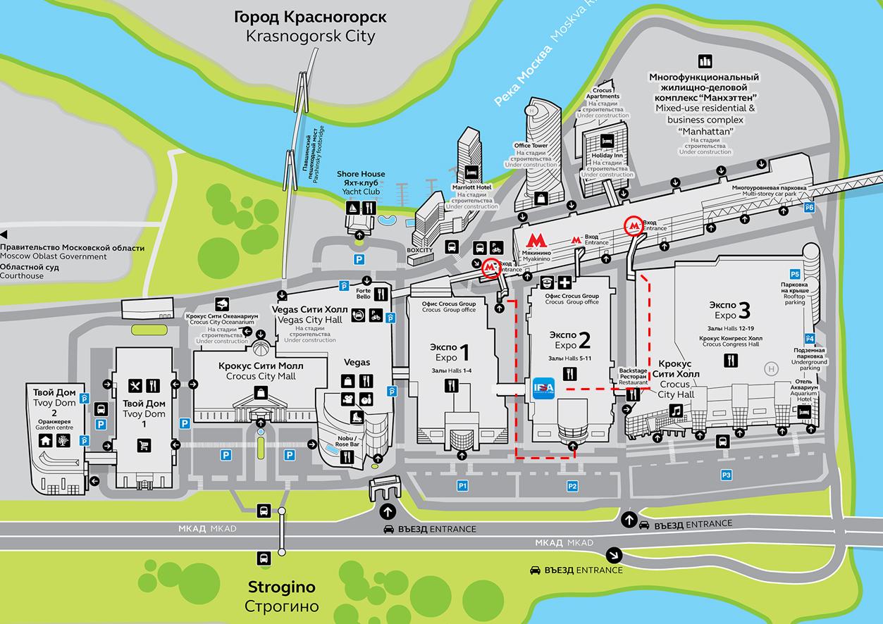 Схема выставочного комплекса Крокус Экспо