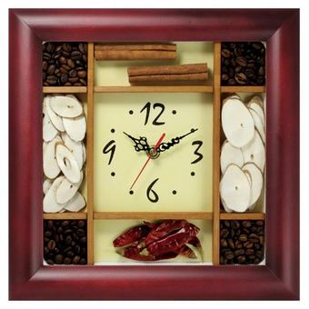 Часы с логотипом Модель 08 квадратные дерево с насыпными элементами
