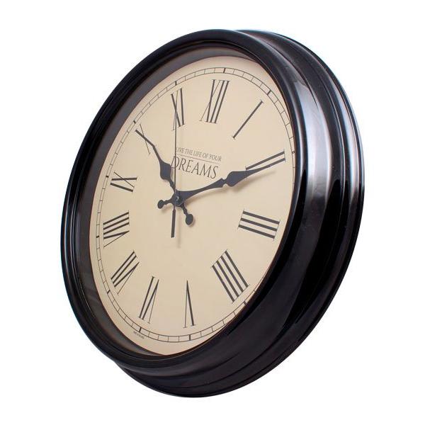 Настенные часы с логотипом Модель 77 круглые с чёрным корпусом вид сбоку