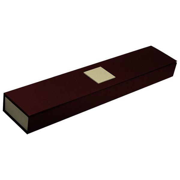 Картонный пенал для наручных часов, бордовый с золотом