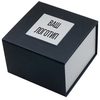 """Картонная коробка для наручных часов, """"куб"""" чёрная с серебром"""