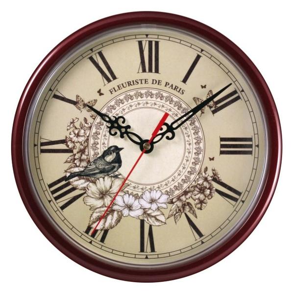 Часы с логотипом Модель 09 Круглые бордовые