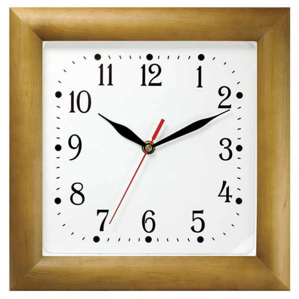 Часы с логотипом Модель 08 квадратные дерево
