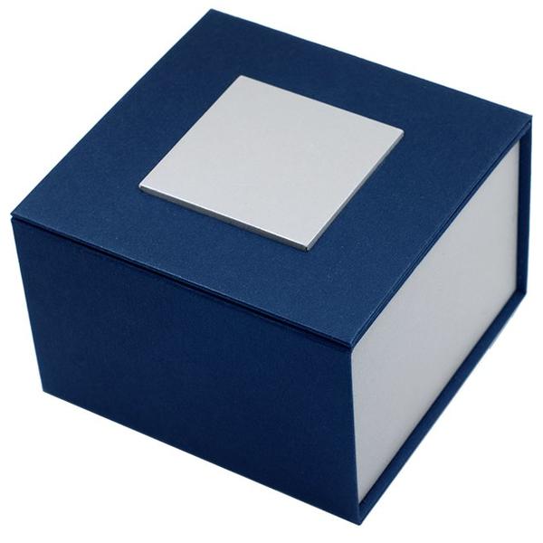 """Картонная коробка для наручных часов, """"куб"""" синяя с серебром"""