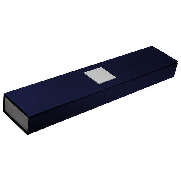 Картонный пенал для наручных часов, тёмно-синий с серебром